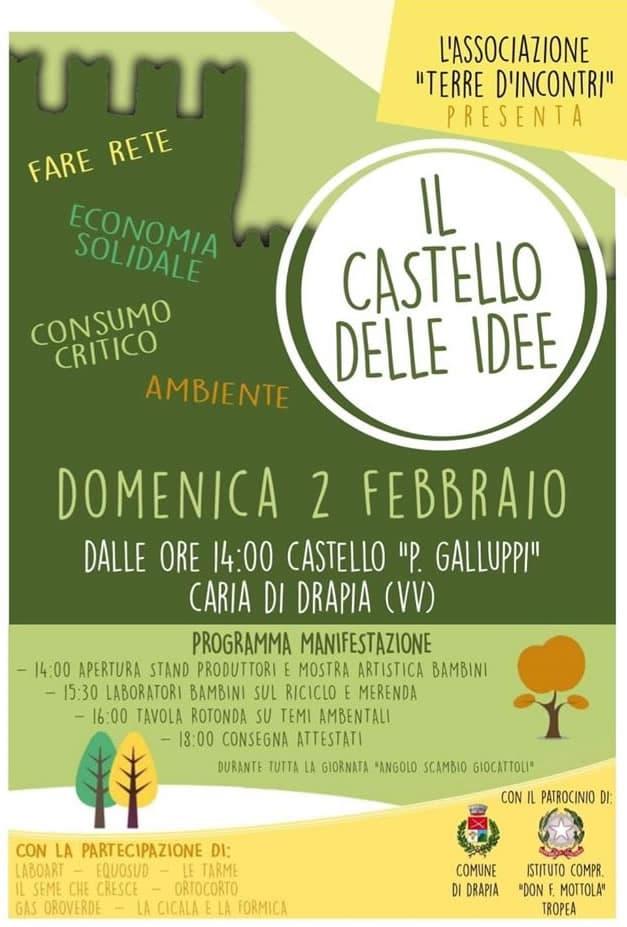 Il castello delle idee 2 febbraio 2020 a Caria di Drapia locandina