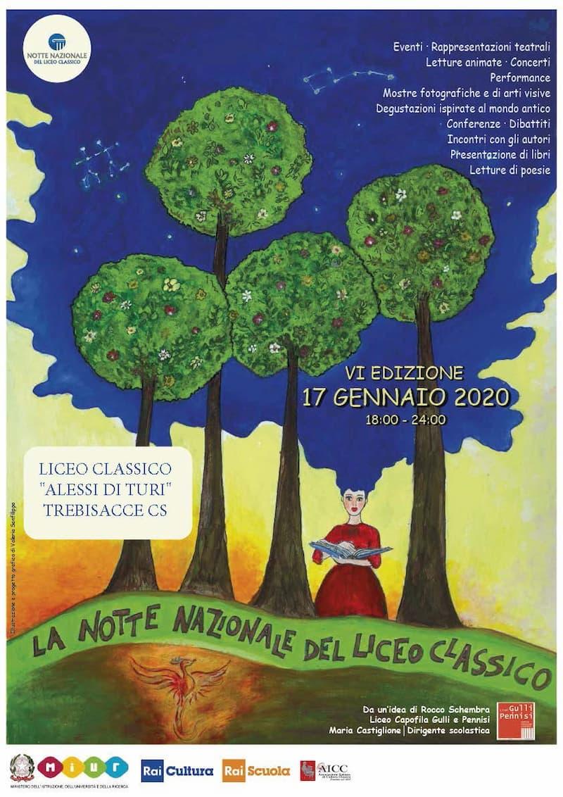 Liceo Classico Alessio di Turi di Trebisacce celebra La notte dei licei 17 Gennaio 2020 locandina