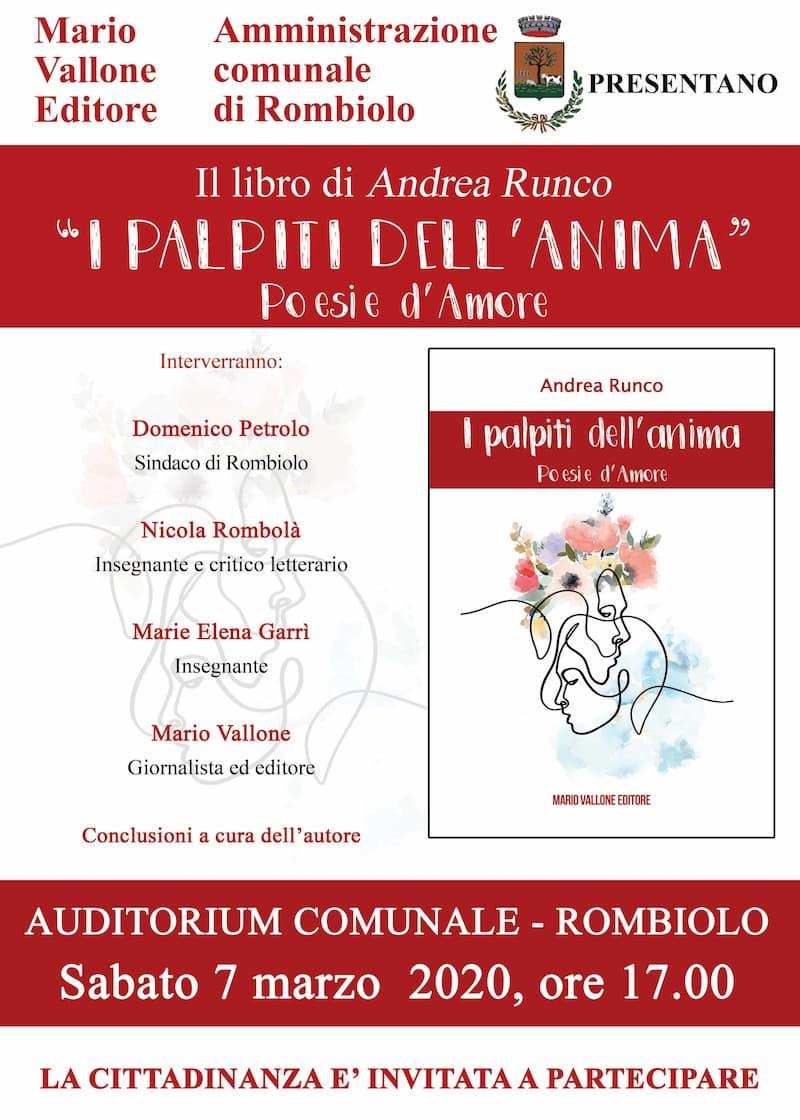 Mario Vallone Editore presentazione libro Le poesie d'amore di Andrea Runco 7 marzo 2020 locandina