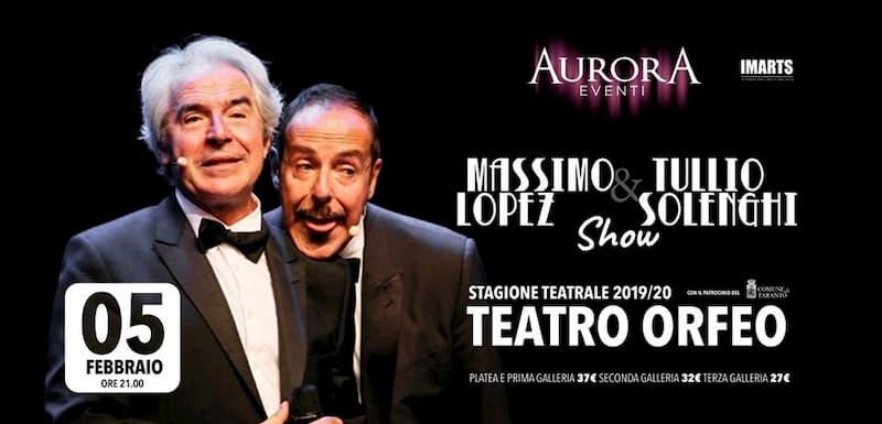 Massimo Lopez & Tullio Solenghi show Taranto 5 Febbraio 2020 locandina