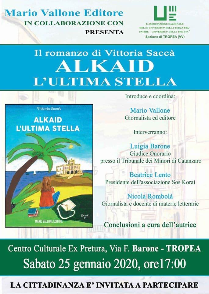 Presentazione libro Vittoria Saccà a Tropea 25 Gennaio 2020 locandina