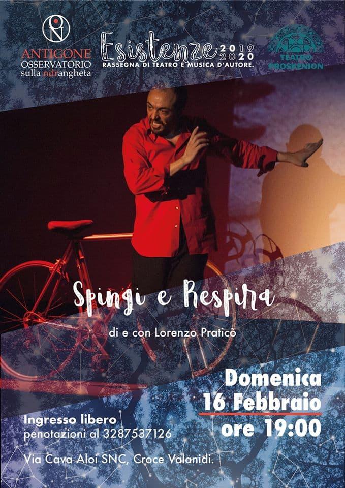 Rassegna Esistenze - Spingi e Respira 16 Febbraio 2020 a Reggio Calabria locandina
