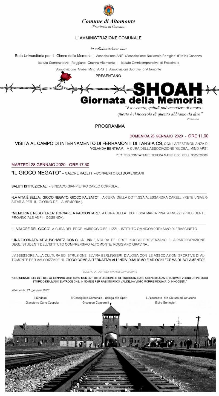 Shoah, due giorni di Eventi ad Altomonte 2020 locandina