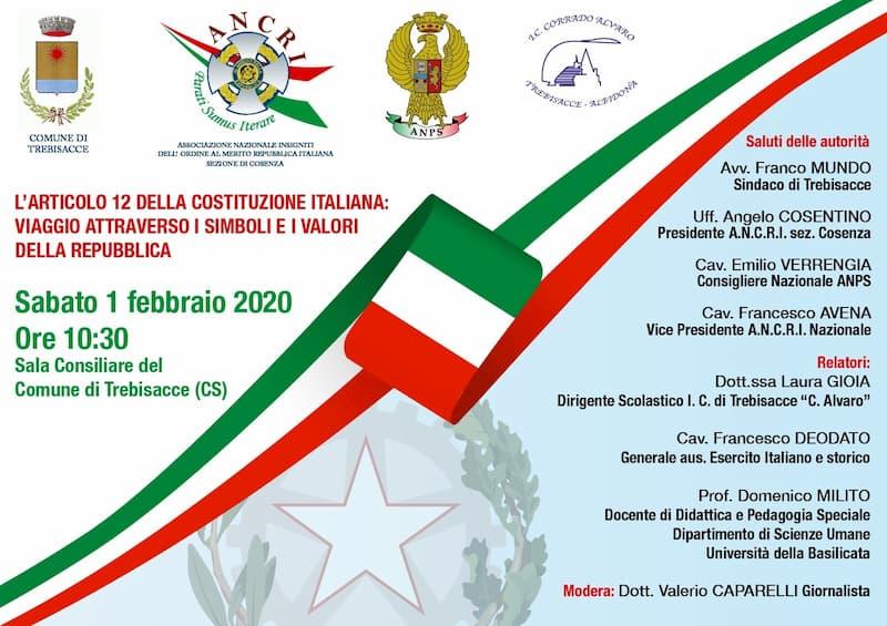 Trebisacce ospita il convegno sul tricolore 1 febbraio 2020 locandina