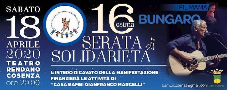 16^ Serata di Solidarietà Bambi - Bungaro, Fil Mama 18 Aprile 2020 a Cosenza locandina