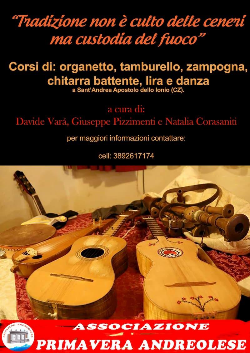 Associazione Primavera Andreolese, nuovo progetto Seminari e Corsi di Tamburello, Organetto, Chitarra Battente, Lira e Danza locandina