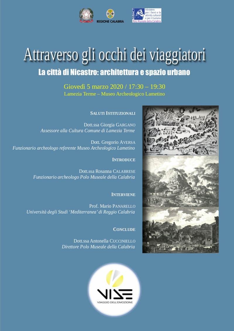 Attraverso gli occhi dei viaggiatori La città di Nicastro architettura e spazio urbano 5 marzo 2020 a Lamezia Terme locandina