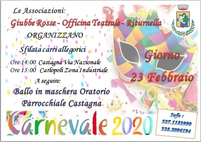 Carlopoli Carnevale 2020 23 Febbraio 2020 locandina