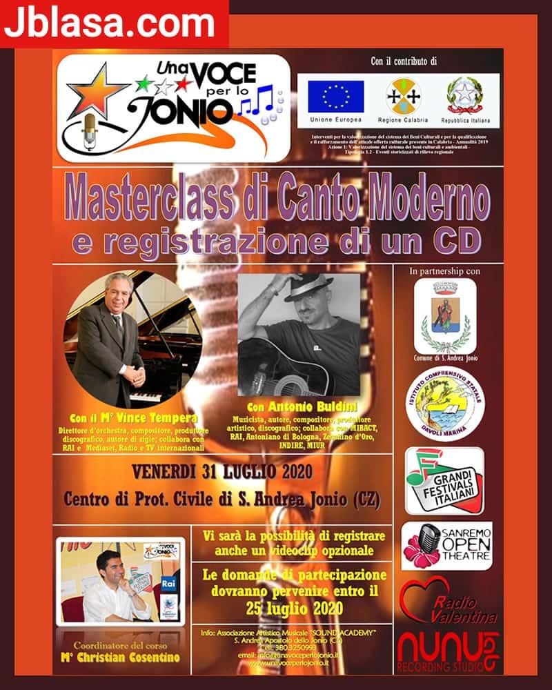 Masterclass di canto moderno 31 luglio 2020 a Sant'Andrea Jonio