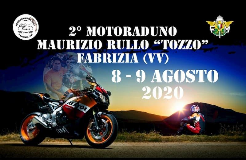 2° Motoraduno Maurizio Rullo Tozzo 8 e 9 Agosto 2020 a Fabrizia locandina