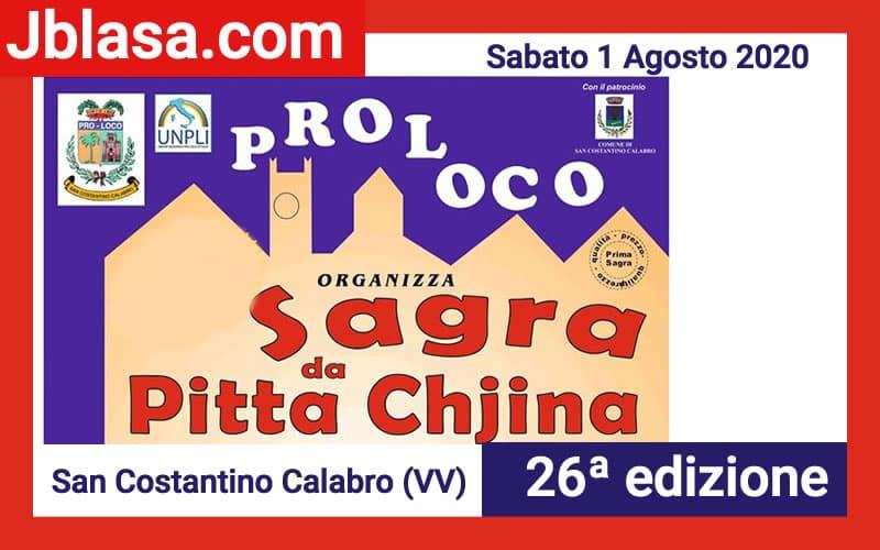 Sagra da Pitta Chjina 1 Agosto 2020 a San Costantino Calabro