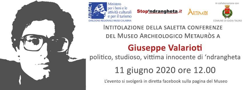 Museo archeologico Mètauros Intitolazione della saletta conferenze allo studioso Giuseppe Valarioti 11 Giugno 2020 locandina