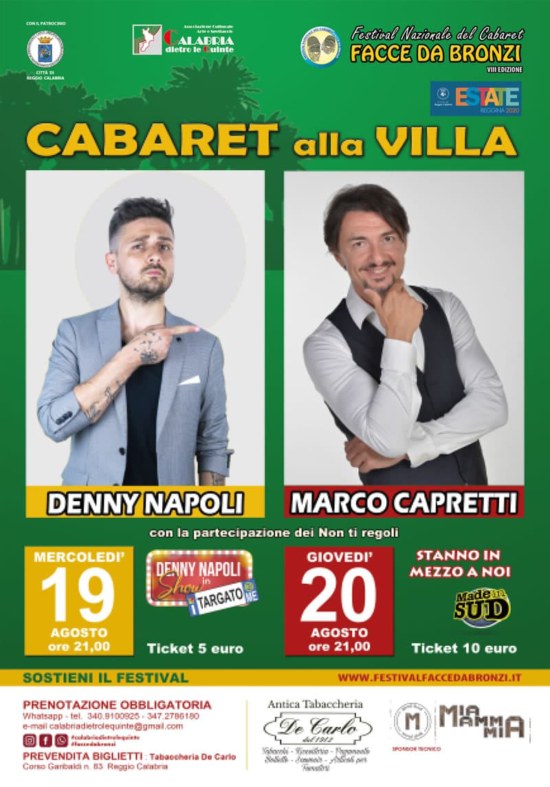 Cabaret alla Villa 19 e 20 Agosto 2020 alla Villa Comunale di Reggio Calabria