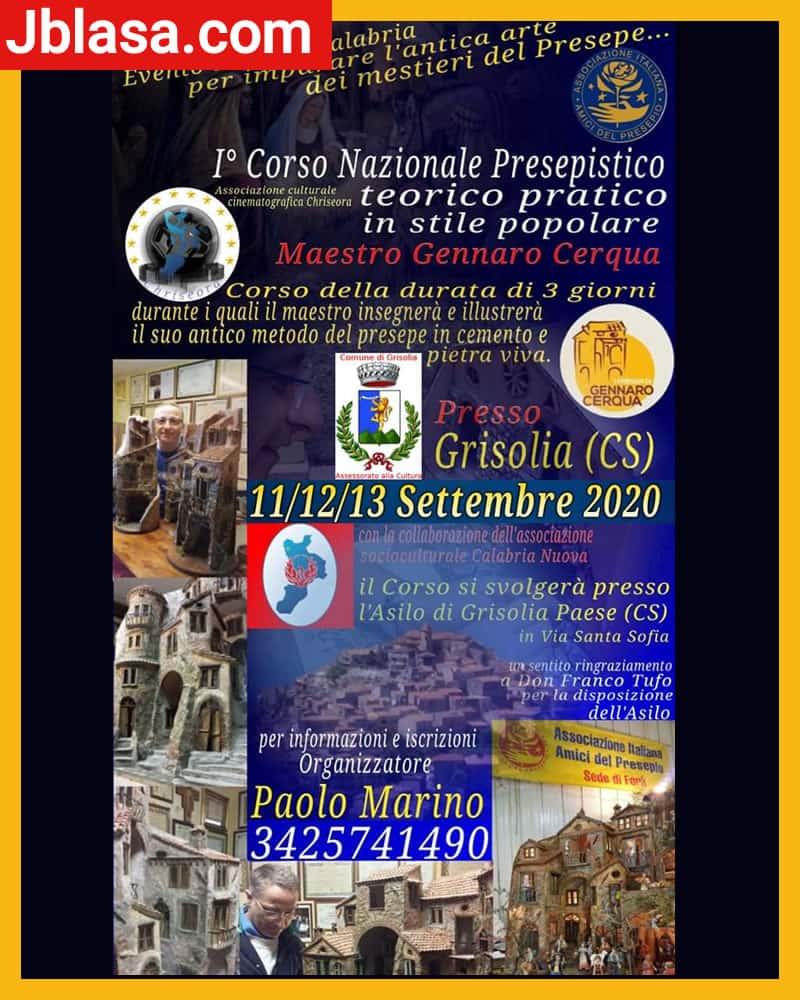 I° Corso Nazionale Presepistico settembre 2020 a Grisolia locandina