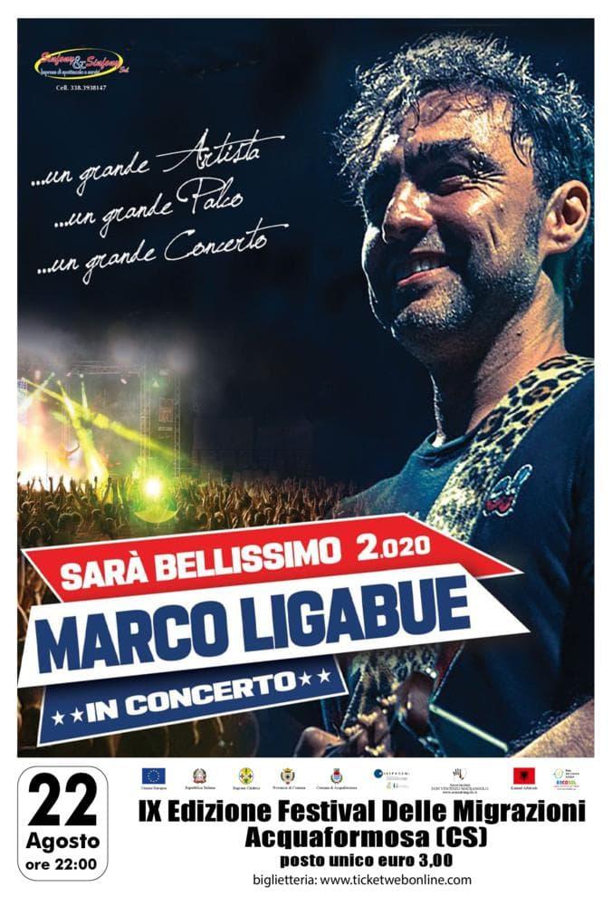 Marco Ligabue in Concerto 22 Agosto 2020 ad Acquaformosa locandina