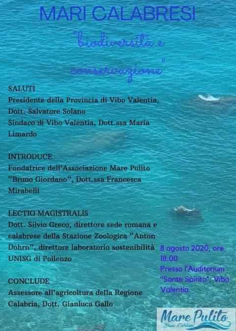 Mari della Calabria biodiversità e conservazione 8 agosto 2020 a Vibo Valentia
