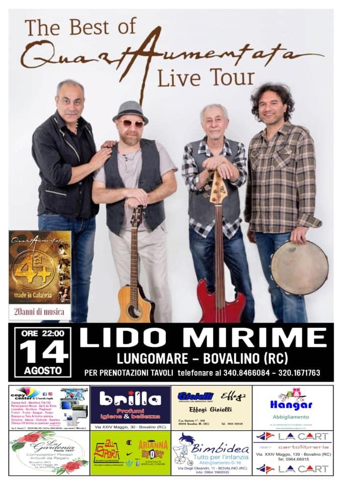 Quartaumentata live tour 14 agosto 2020 Bovalino locandina