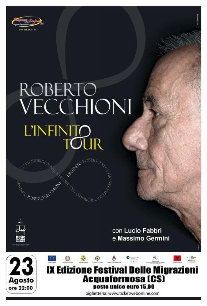 Roberto Vecchioni 23 Agosto 2020 ad Acquaformosalocandina