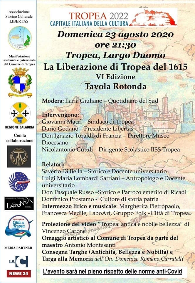 Tavola Rotonda - Anniversario Liberazione di Tropea del 1615 23 agosto 2020 a Tropea