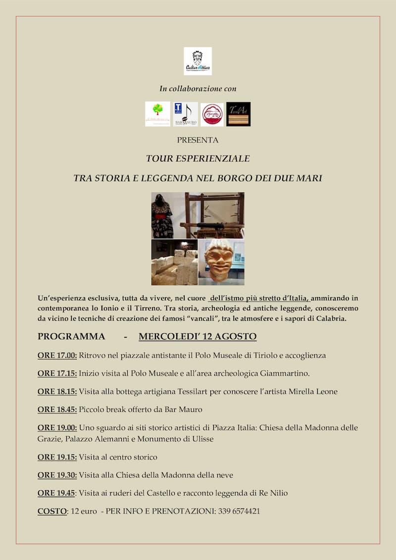 Tour esperienziale alla scoperta di Tiriolo 19 Agosto 2020 locandina