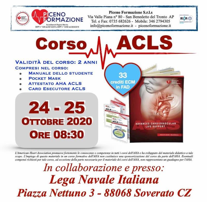 ACLS Advanced Cardiovascular Life Support AHA 24 e 25 Ottobre 2020 a Soverato