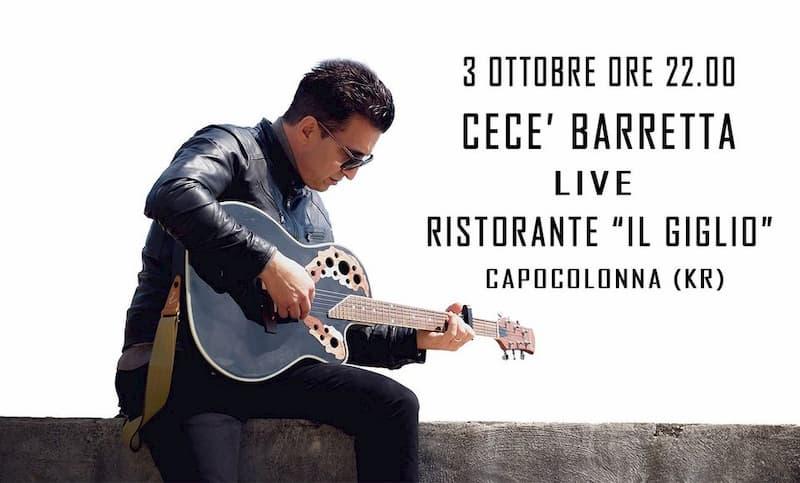Cecè Barretta Live a Il Giglio 3 ottobre 2020 a Capocolonna Crotone