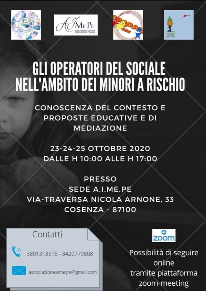 Gli operatori del sociale nell'ambito dei minori a rischio dal 23 al 25 ottobre 2020 a Cosenza