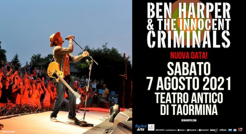 Ben Harper sabato 7 agosto 2021 al Teatro Antico di Taormina