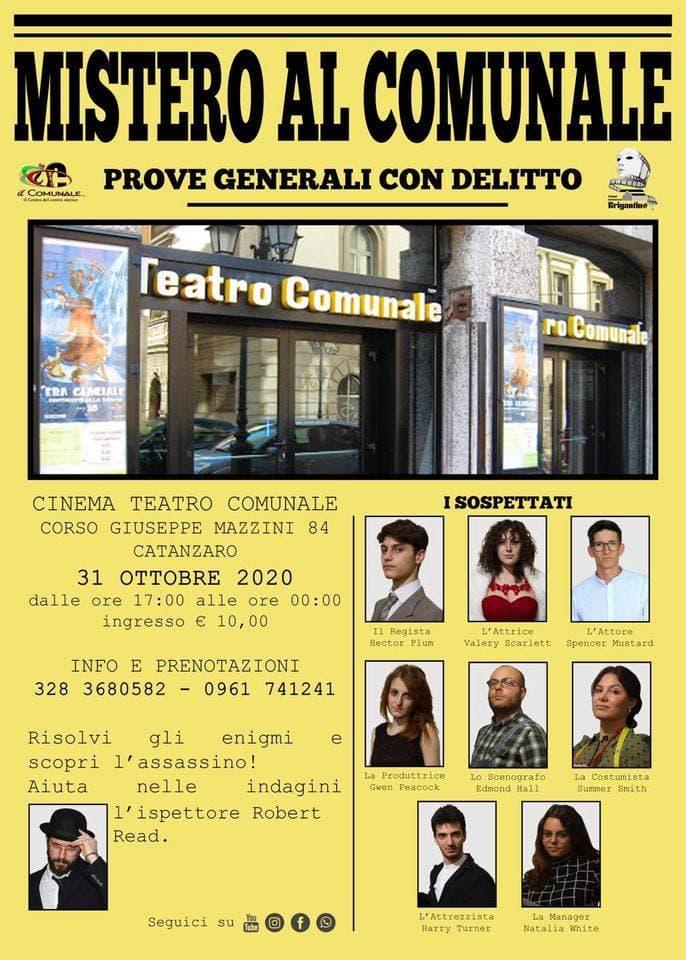 Mistero al Comunale 31 ottobre 2020 Catanzaro locandina