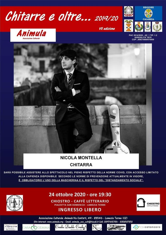 Nicola Mantella - Chitarra 24 ottobre 2020 Lamezia Terme locandina