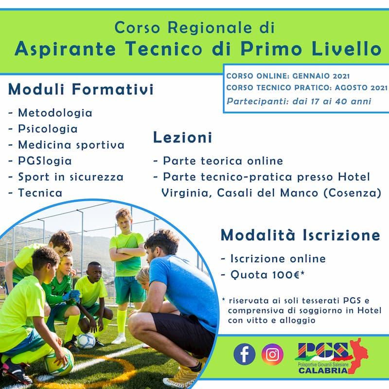PGS Calabria, iscrizioni aperte al Corso Regionale di Aspirante Tecnico 2021