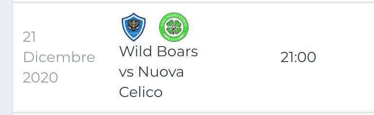 Wild Boars - Nuova Celico 21 Dicembre 2020 Cosenza