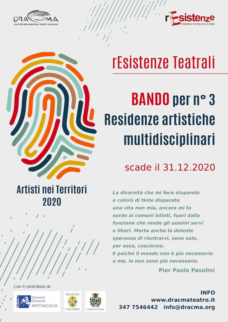 Progetto rEsistenze DRACMA Teatro Bando residenze 2020 locandina