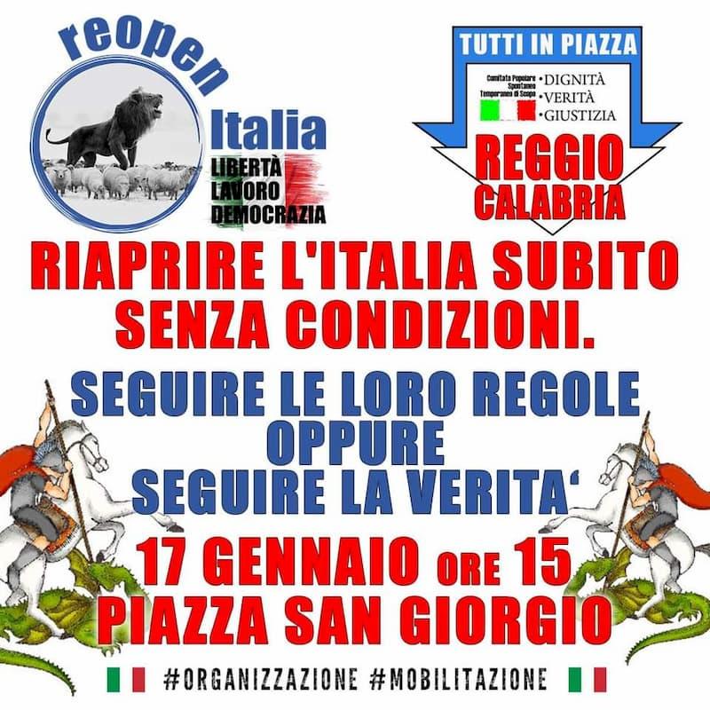Liberi di scegliere - riaprire l'Italia subito senza condizioni 17 gennaio 2021 Reggio Calabria locandina