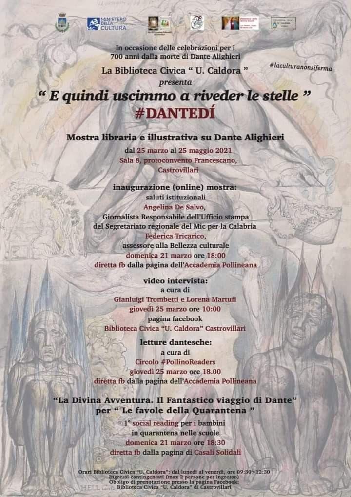 Mostra libraria e illustrativa su Dante Alighieri 25 marzo - 25 maggio 2021 a Castrovillari locandina