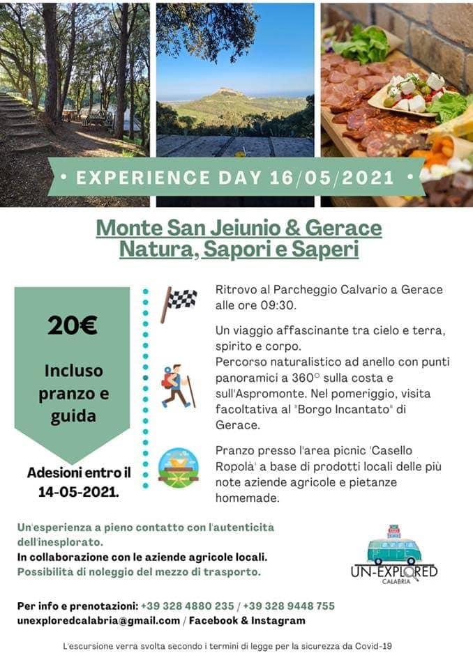 Experience Day @ Monte S. Jeiunio 16 maggio 2021 locandina