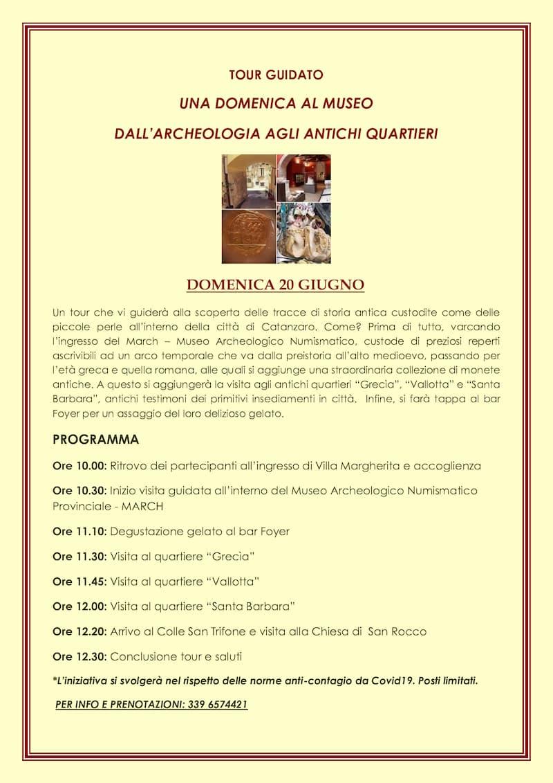 Una domenica al museo dall'archeologia agli antichi quartieri 20 giugno 2021 Catanzaro locandina
