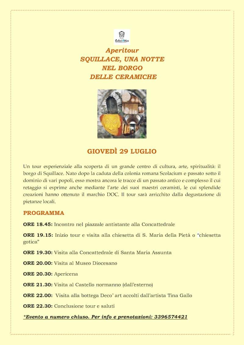 Aperitour Squillace una notte nel borgo delle ceramiche 29 luglio 2021 locandina