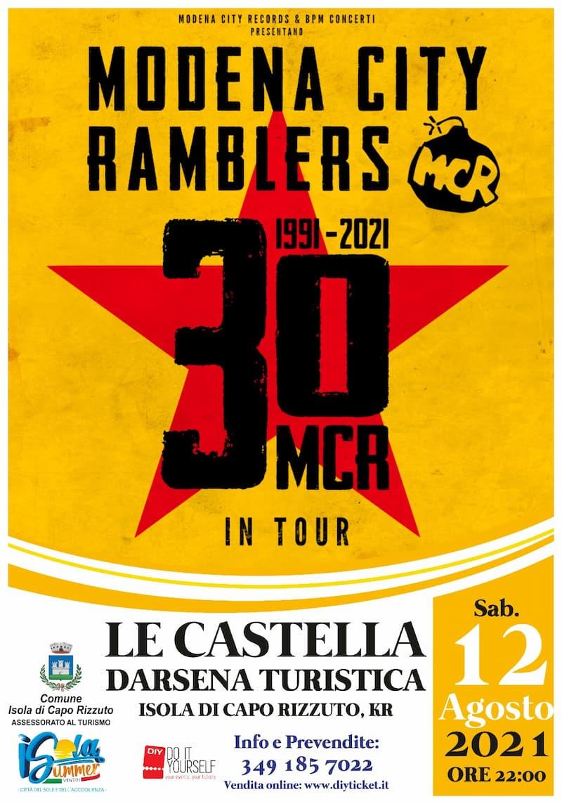 Concerto Modena city Ramblers 12 agosto 2021 Darsena Le Castella Isola Capo Rizzuto locandina