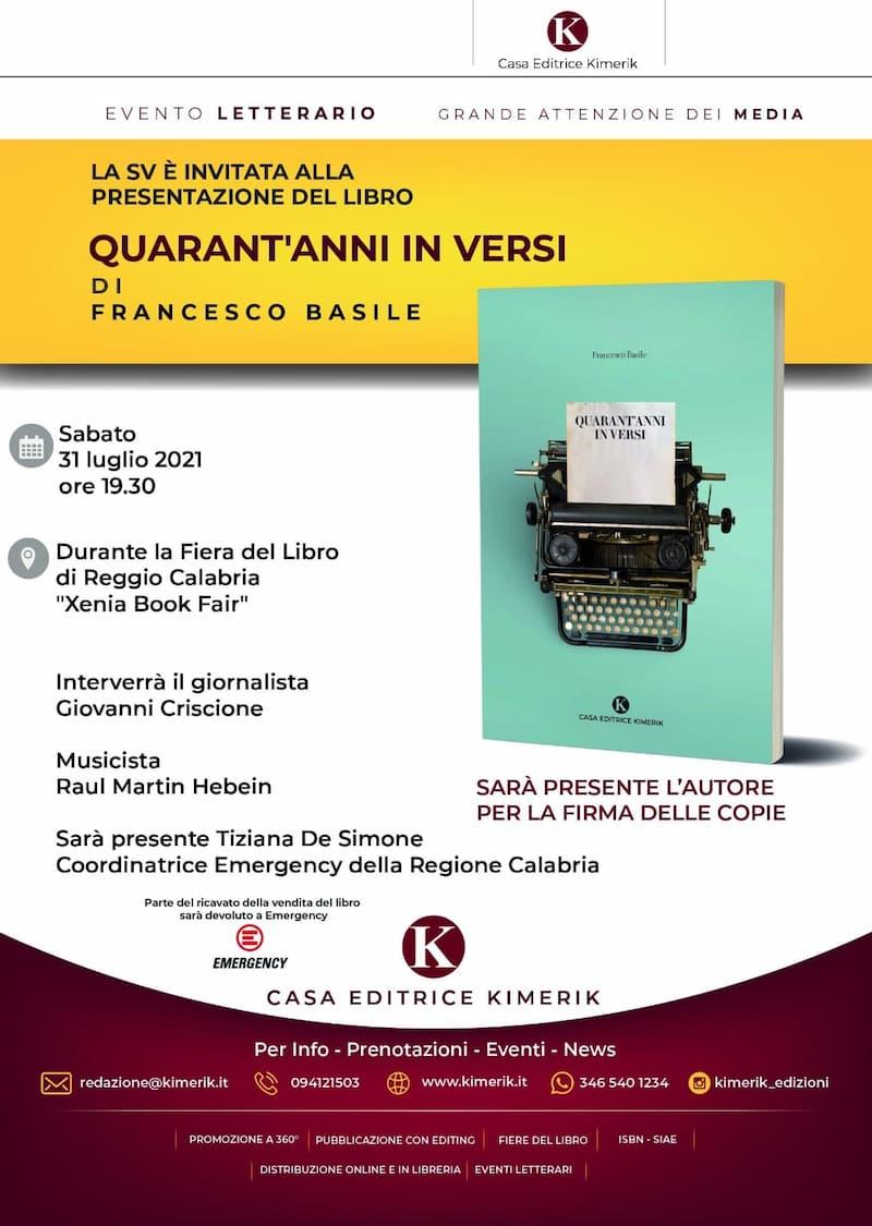 XENIA Book Fair, il poeta siciliano Francesco Basile presenta Quarant'anni in versi 31 luglio 2021 locandina