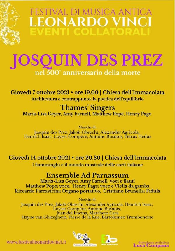 A Crotone due concerti per celebrare il genio musicale di Josquin des Prez 7 e 14 ottobre 2021 locandina