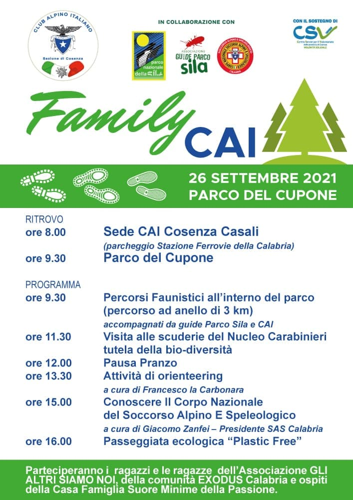 Family CAI 26 settembre 2021 Parco del Cupone locandina