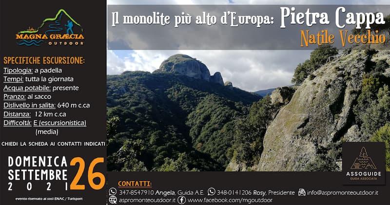 Il Monolite più alto d'Europa Pietra Cappa 26 settembre 2021 locandina