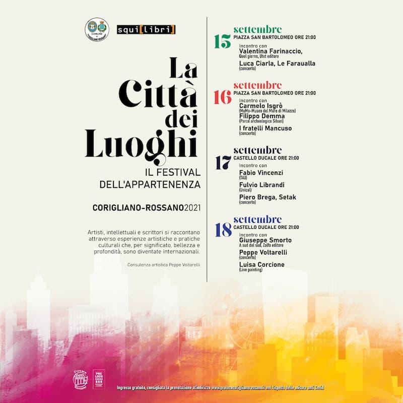La città dei luoghi - Festival dell'appartenenza 2021 Corigliano Rossano locandina