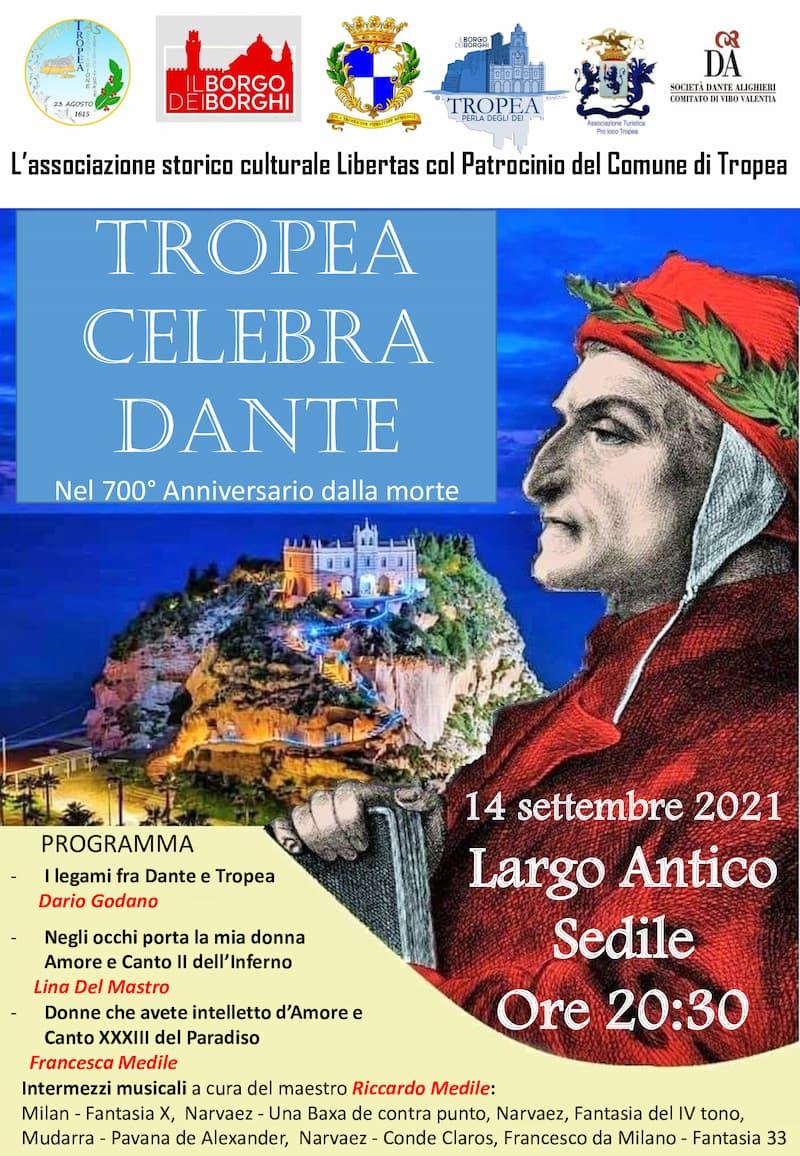 Tropea celebra Dante Alighieri nel VII centenario dalla morte 14 settembre 2021 locandina