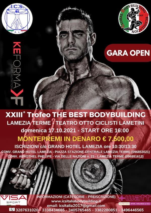 XXIII° Trofeo The Best Bodybuilding 17 ottobre 2021 Lamezia Terme locandina